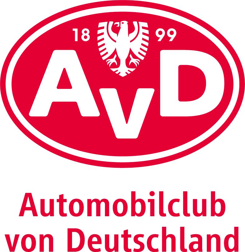 AvD-Logo mit rotem Schriftzug für hellen Untergrund
